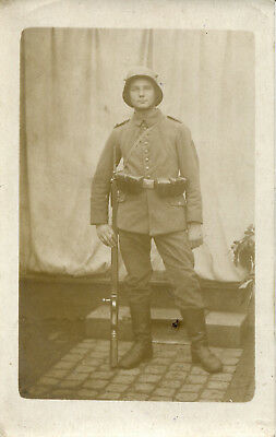 RPPC Photo of German Infantryman in Combat Dress