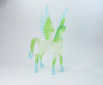 Pegasus Light Green and Blue Figurine of Blown Glass Crystal