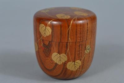 R526: Japan Wooden Leaf gold lacquer pattern TEA CADDY Natsume Chaire Container