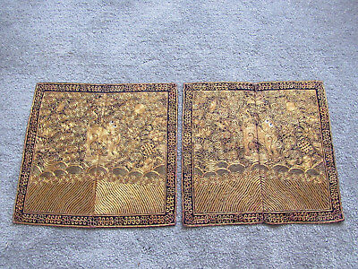 Very rare pair of old Chinese embroidered silk military rank badges