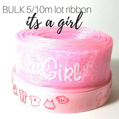 Its a girl ribbon, 5/10m BULK lot, pink satin/organza for cake, gift party decor