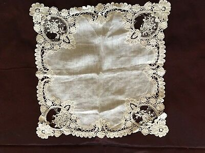 "Small lot Hanky with Bruges lace edging & Bobbin lace edging 30"" by 1"""