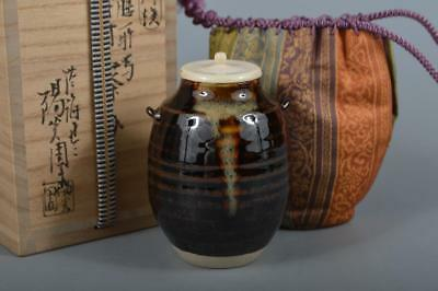 R156: Japanese Kiyomizu-ware Brown glaze TEA CADDY High class lid w/signed box