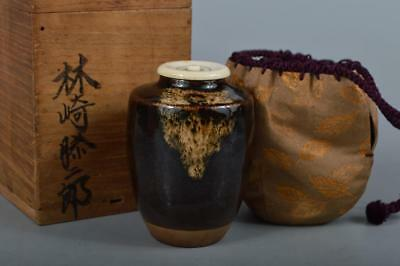 R152: Japanese Old Kiyomizu-ware Seto glaze TEA CADDY High class lid w/box
