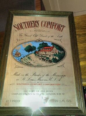 Vintage Southern Comfort Whiskey Advertising Glass Bar Mirror man cave rare
