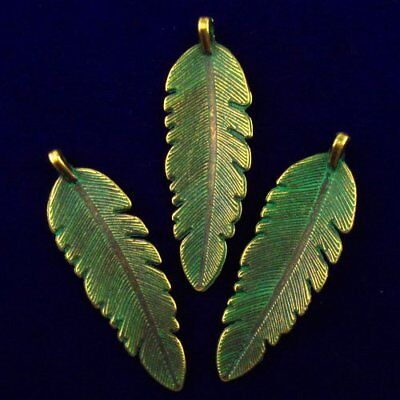 3Pcs 44x14x3mm Carved Brass Bronze Feather Pendant Bead F42848
