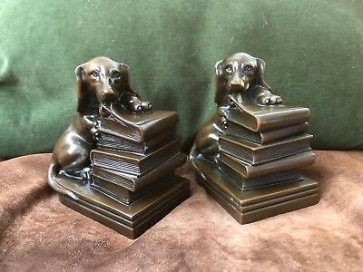 Dachshund bronze Jennings Bros bookends 1920s