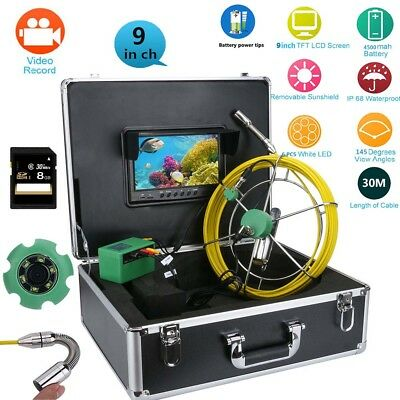 "9""LCD DVR 30M Waterproof Drain Pipe Sewer Inspection Camera System 8GB TF Card"