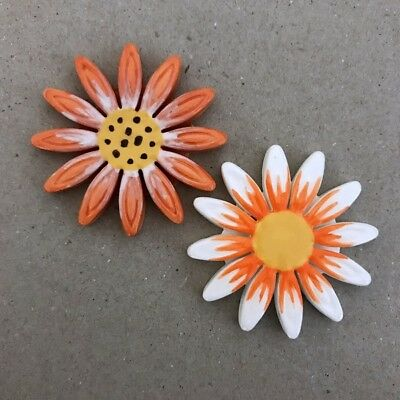 40mm CERAMIC DAISY FLOWER - x2 - Orange White ~ Mosaic Inserts, Art, Craft Su...