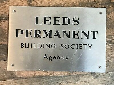 Vintage Leeds Permanent Building Society Agency Plaque Sign Stainless Steel