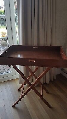 Vintage Mahogany Large Butlers Tray And Stand