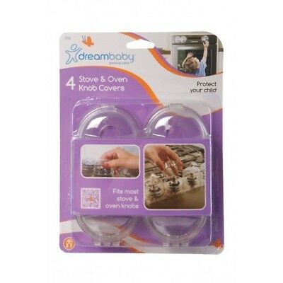 Dreambaby Stove & Oven Knob Covers 4 Pack Baby Toddler Safety Over Locks Covers