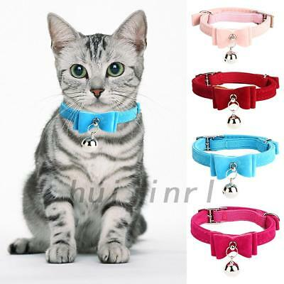 Lovely Elastic Cat Kitten Collar Bow Tie Pet Neck Chain with Bell 5 Colors UK
