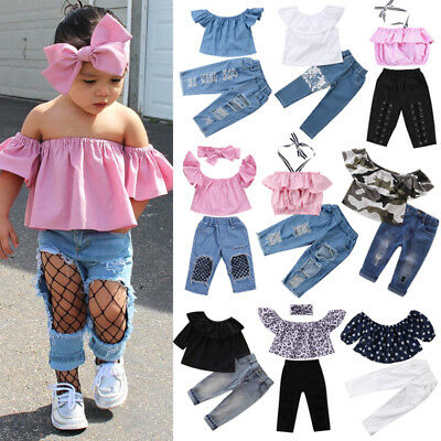 bacf1405bcdab Kids Toddler Baby Girl Off Shoulder Crop Top Denim Pants Headband Outfit  Clothes