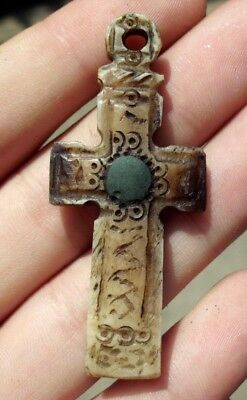 Authentic Medieval Christian Roman Byzantine Bone Cross Pendant - Wearable