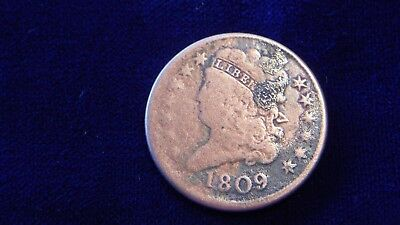 US 1809 Half Cent Classic Head Copper Coin - Cleaned