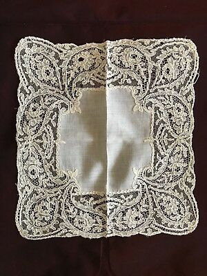 "French antique BRIDAL Linon HANDKERCHIEF with NEEDLE LACE EDGING 8"" square"