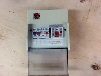 Consumer Unit Wylex. Plastic.comes with 4 trip switches. 6, 16 and 2x32