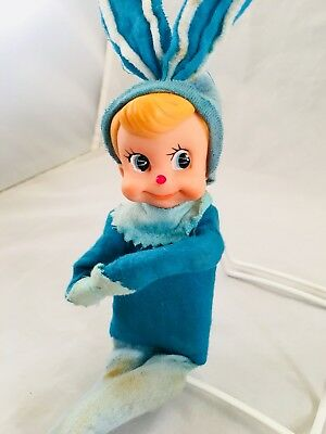 Vintage Pixie Elf Knee Hugger Easter Bunny Rabbit Blue Made in Japan 1960's