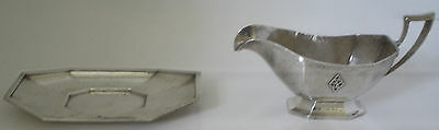 American R Wallace Hand Hammered Sterling Arts & Crafts Sauce Boat & Tray C 1910