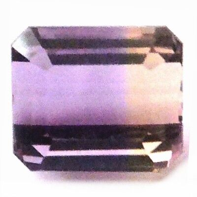NATURAL EMERALD-CUT PURPLE GOLD AMETRINE GEMSTONE LOOSE 9.6 x 8.1 mm AAAAA