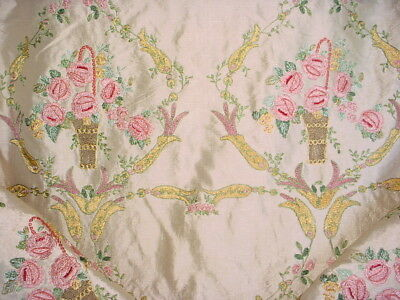 5Y Incredible Colefax Fowler Embroidered Floral Vase Silk Upholstery Fabric