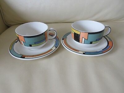 2 X Royal Doulton Art Deco Pattern Milano  Teacups and Saucers