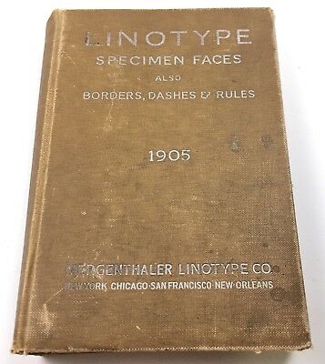 Vintage 1905 Linotype Specimen Faces Also Borders, Dashes & Rules