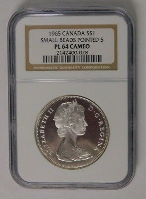 1965 Canada Silver Dollar Small Beads Pointed 5 NGC PL 64 Cameo Check Pics!!