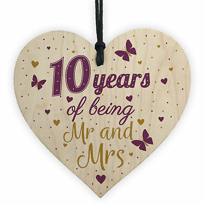 10 Year Anniversary Gift Wooden Heart Sign Mr And Mrs 10th Anniversary Plaque