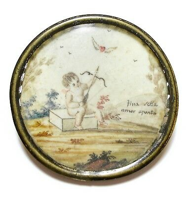 Beautiful Old Antique Georgian Patch Box Handpainted Cupid Plaque Spare (A8)