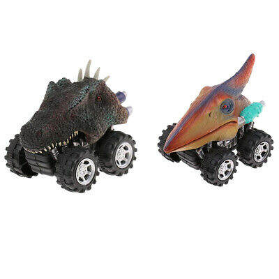 2Pcs Vivid Dinosaurs Figures Pull Back Cars Jurassic Toy Children Fun Games