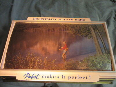 Vtg Old Pabst Blue Ribbon Brewery Beer Sign Light Up Fishing Outdoors Lake Scene