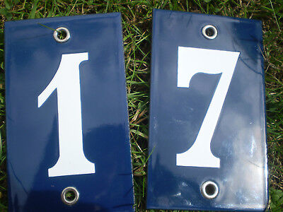 French blue and white enamelled steel house numbers