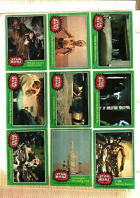1977 Topps Star Wars Cards Series 4 Green..... Good++ To Very Good  Condition