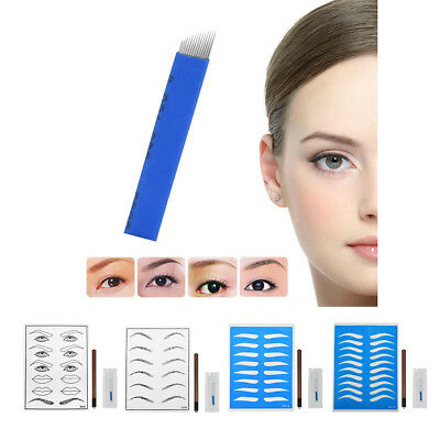 One Set Microblading Permanent 3D Makeup Eyebrow Tattoo Needle Pen Skin Kit