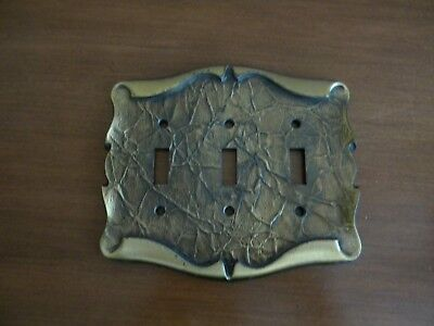 Vtg Amerock Carriage House Brass Triple Switch Plate Cover