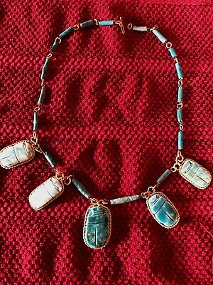 "VINTAGE Egyptian Revival Faience Glaze 5 Large Scarabs Handmade 20""Necklace"