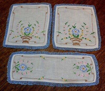 #7    3 Handmade Vintage Crocheted Doilies Floral and in lovely condition
