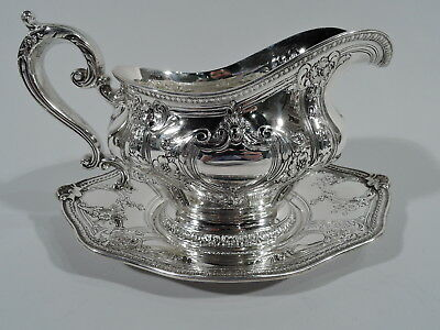 Gorham Gregorian Gravy Boat on Stand - A13028 A13029 - American Sterling Silver