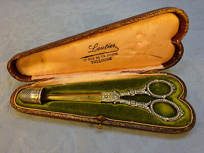 Superb French Antique Silver Gilt Sewing Scissors in Case etui couture
