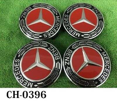 4x Mercedes Red Alloy Wheel Centre Hub Caps AMG A B C E S M Class ML CLA GLA
