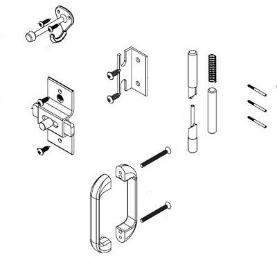 Bradley Toilet Partition Stainless Steel No Site Door Hardware Kit, Inswing ,