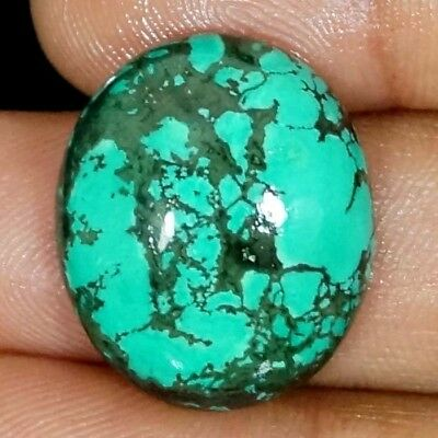 27.40 Cts. AAA NATURAL TIBET TURQUOISE OVAL CABOCHON LOOSE GEMSTONE ~22X26 MM~