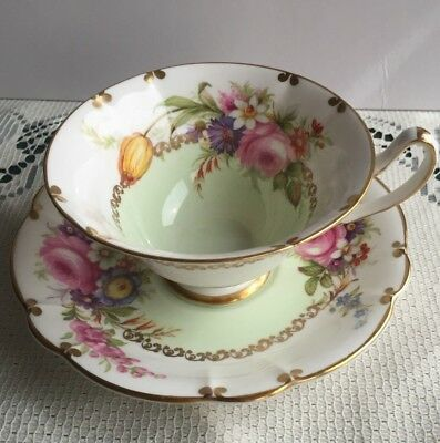 E B Foley Bone China Cup and Saucer Pale Green with Roses and Gold Trim - Mint!