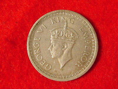 1944 India British One Rupee 50% Silver Foreign Coin King George VI Emporer
