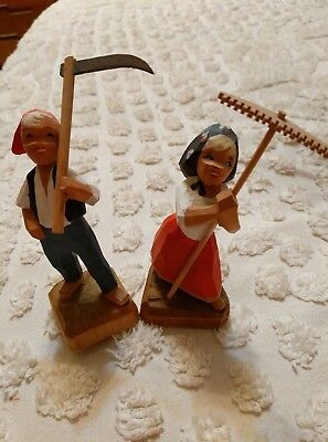 PAIR OF HAND CARVED WOODEN NORWAY HENNING BOY AND GIRL FIGURES ( Farmers )