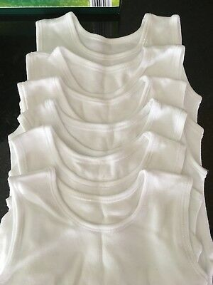 6 Pack Sleeveless White Baby Vests 9-12 Months Asda George Excellent Condition