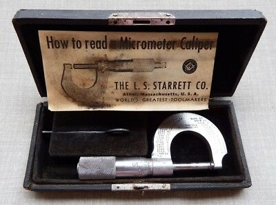 Vintage L. S. Starrett No 209 Outside Micrometer Measuring Tool w/Case/Instructs