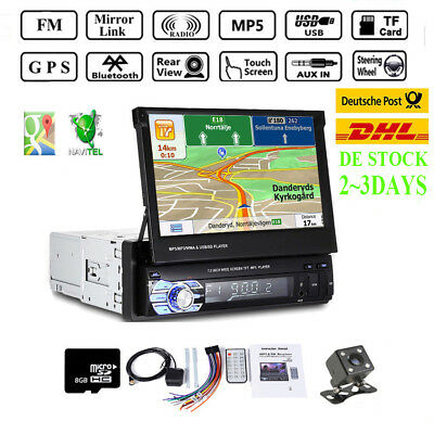 "7"" 1Din Autoradio GPS Navi Touch Screen Bluetooth Stereo MP5 Player EU Map Card"